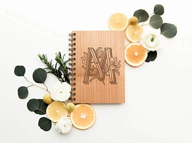 Floral Monogram Laser Cut Wood Journal