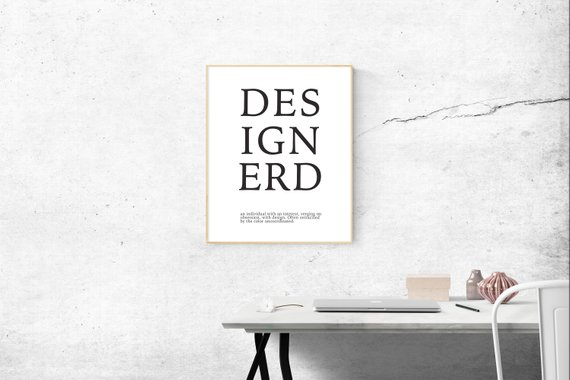 DesignerD Graphic Design Typography Minimalist Black and White Poster Print