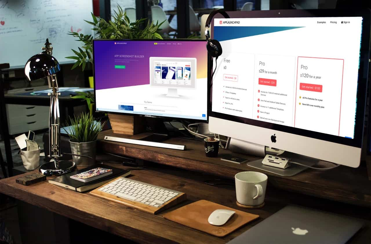 App Launch Pad Site on Two Screens