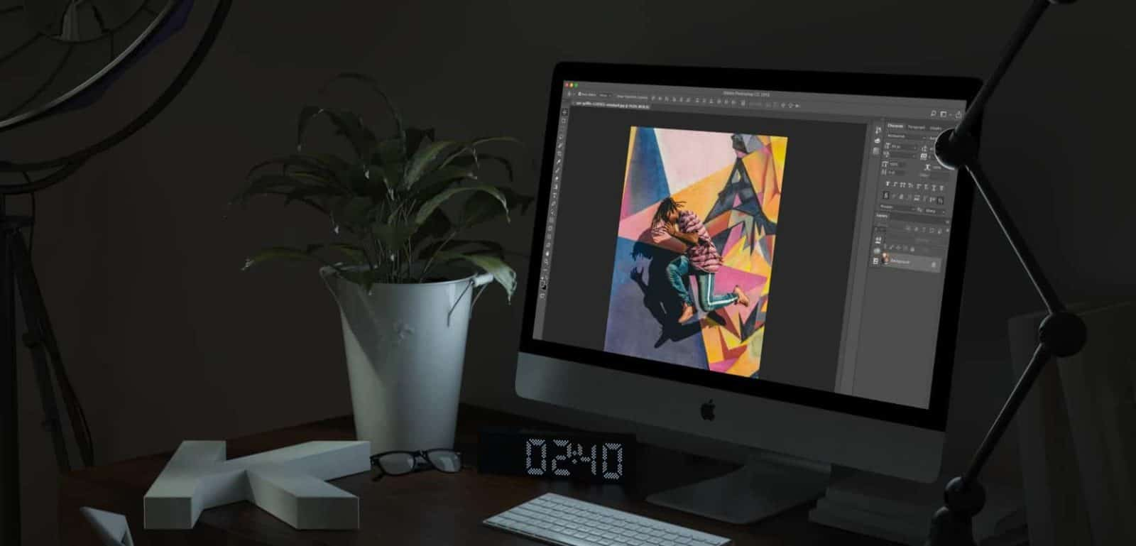 adobe photoshop running on computer