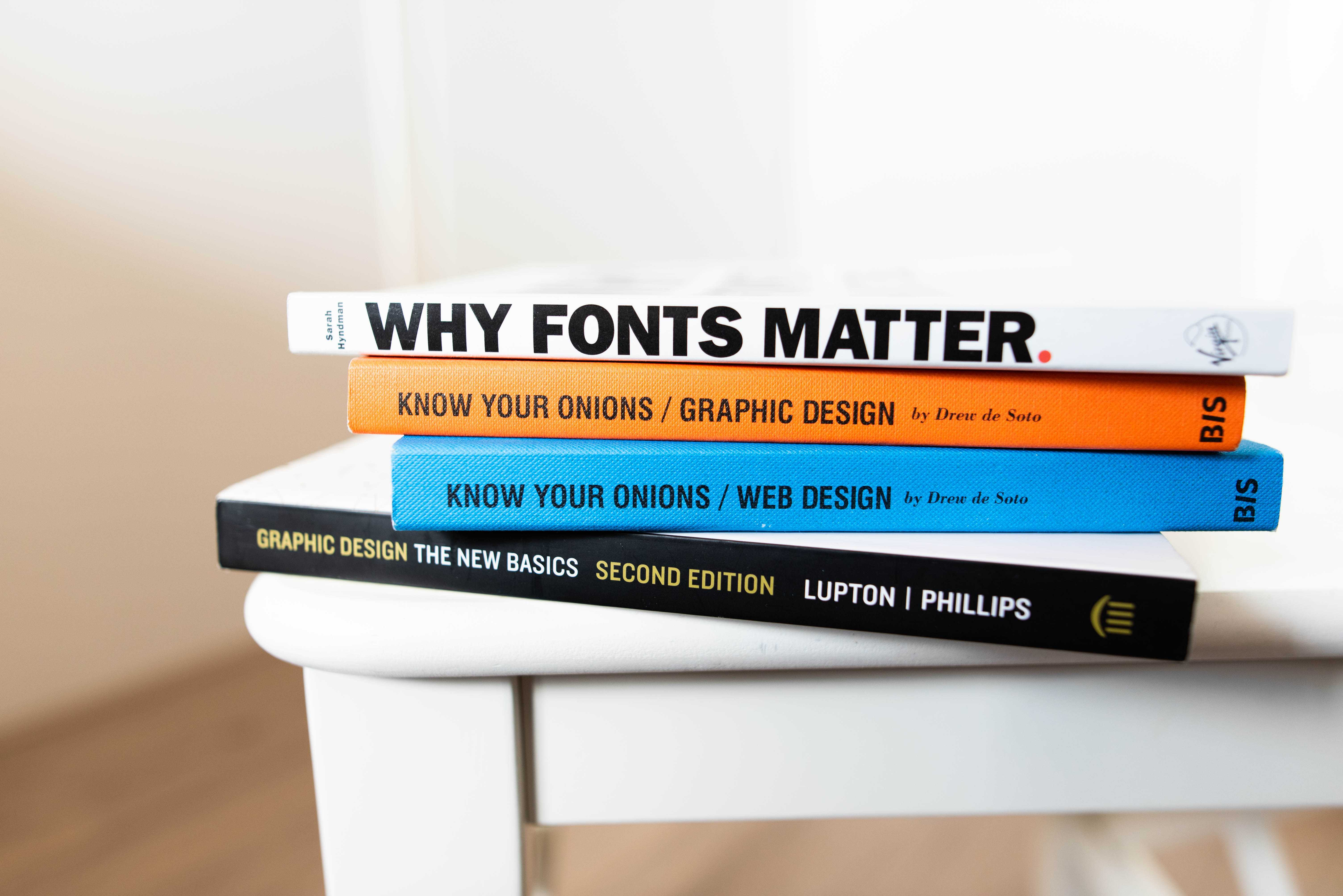 graphic design books on table
